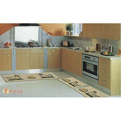 Jogo de Tapete para Cozinha Look 3 peças em sisal Rayza - Galinha