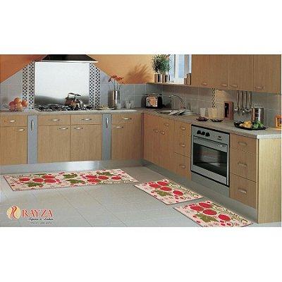 Jogo de Tapete para Cozinha Look 3 peças em sisal Rayza - Morango