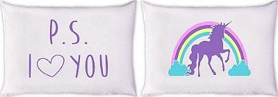 Kit Fronha em Malha 2pçs Divertida - 3331 PS I love you violeta