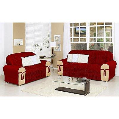 Kit Capa de Sofa 2 e 3 lugares Glamour - Vermelho