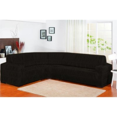 Capa de sofa de canto Elasticada 1 peça - Preto