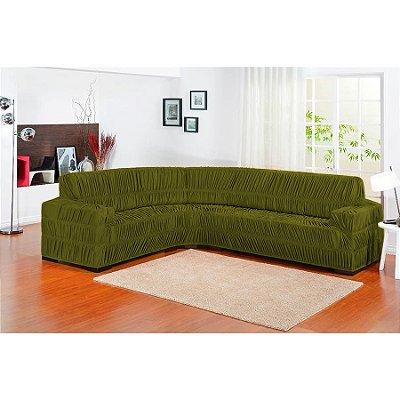 Capa de sofa de canto Elasticada 1 peça - Oliva