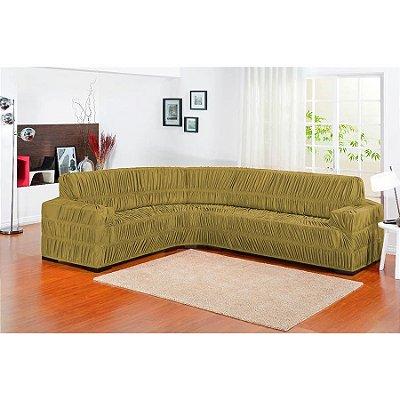 Capa de sofa de canto Elasticada 1 peça - Avelã