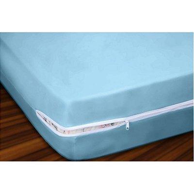 Capa para Colchão Solteiro em Malha com Ziper 20cm Altura - Azul
