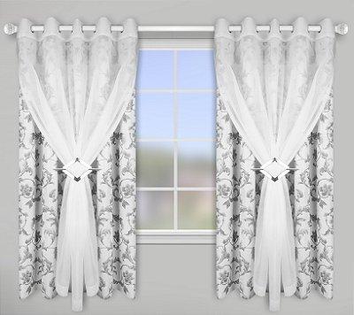 Cortina para varão 2,0x1,80m Blackout Estampado Lava Fácil – Floral Branco