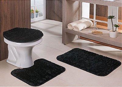 Jogo de Banheiro Classic 3 peças Oasis - Preto