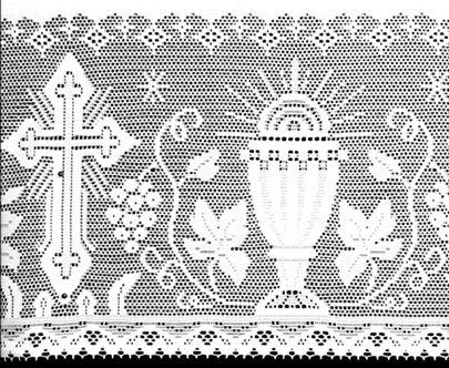 Renda Litúrgica 10 m com 30 cm de altura p/ toalha de Altar (16030) - Branca