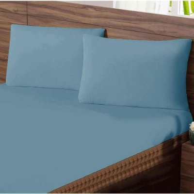 Lençol King com Elastico em Malha Premium 100% Algodão Avulso - Azul