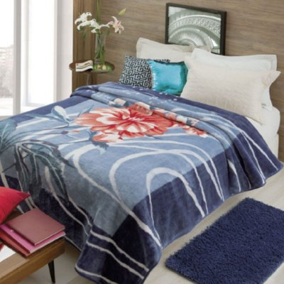 Cobertor Casal Rachel Estampado Jolitex - Miquerinos Azul