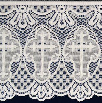 Renda Litúrgica para Sobrepeliz com 30 cm de altura (16130) 5 m - Branca