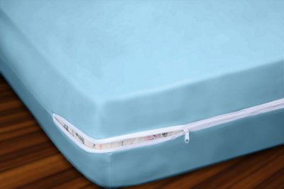 Capa para Colchão Solteiro em Malha 100% Algodão com Ziper 30 cm altura - Azul