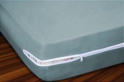 Capa para Colchão Casal em Malha 100% Algodão com Ziper 20 cm altura - Cinza