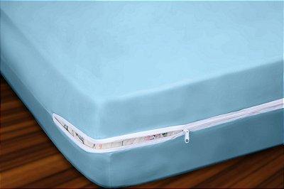 Capa para Colchão Casal em Malha com Ziper 30cm Altura - Azul