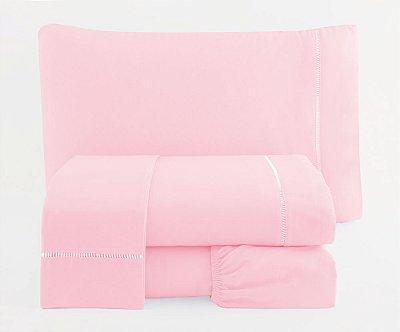 Jogo de Lençol Solteiro Ponto Palito Percal 150 fios 100% Algodão 4 peças - Rosa