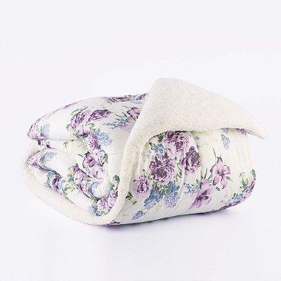 Edredom Solteiro Percal 150 fios Sherpa - Floral Violeta