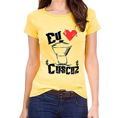 Camiseta Babylook - Eu amo cuscuz - Amarela