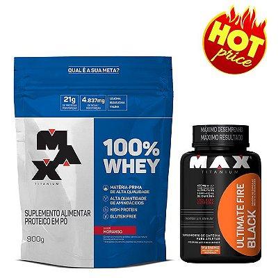 PROMO Whey 100% 900g Refil Max Titanium + Termo Fire Black 60caps