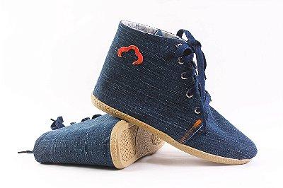 Botinha Cano Longo Jeans Reciclado Tamanho 39
