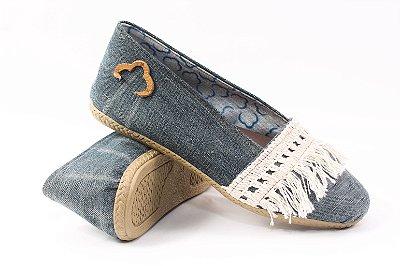 Alpargatas Jeans Reciclado com Aplicação Tamanho 35