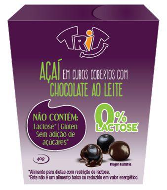 Açaí com cobertura de Chocolate ao Leite 0% Lactose - 40g  | Trit