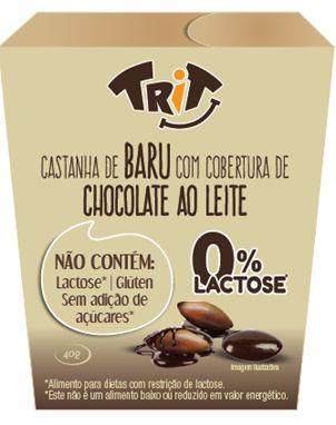 Castanha de Baru com cobertura de chocolate ao leite 0% Lactose