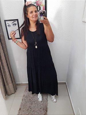 Vestido Fábia na cor Preto ( Tamanho único que veste do 36 ao 48 )