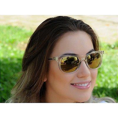Óculos de Sol Jackdaw 28 Transparente com Lentes Dourado Espelhado