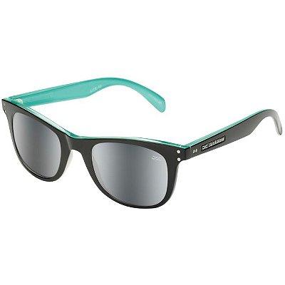 Óculos de Sol Jackdaw 43 Preto e Azul Tiffany Brilho com Lentes Cinza Espelhado