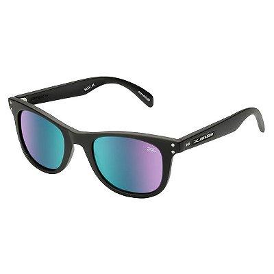 Óculos de Sol Jackdaw 51 Preto Fosco com Lentes Verde Chrome Semi-Espelhado