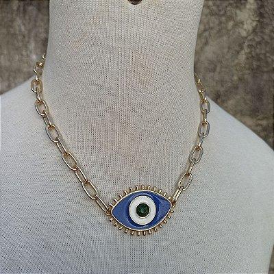 Maxicolar olho grego central dourado azul