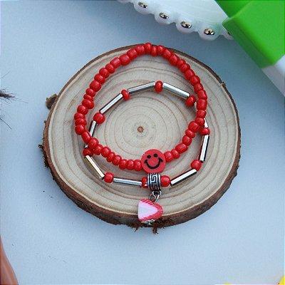Duplinha pulseira infantil fruta vermelha