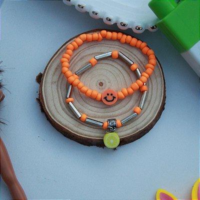 Duplinha pulseira infantil fruta laranja