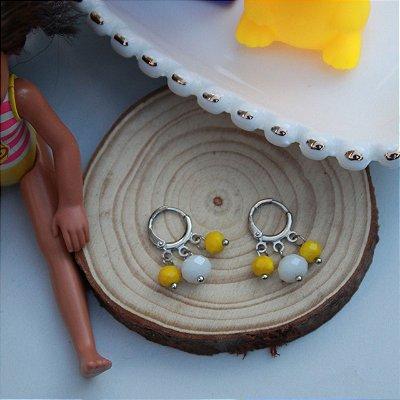 Argolinha colorida branca e amarela infantil kids