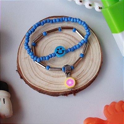 Duplinha pulseira infantil fruta azul
