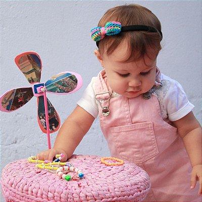 Diadema com laço de crochê colorido infantil kids