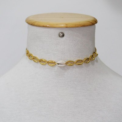 Choker búzio metal com natural
