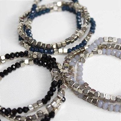 Trio de pulseiras cristais