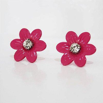 Brinco flor esmaltada rosa