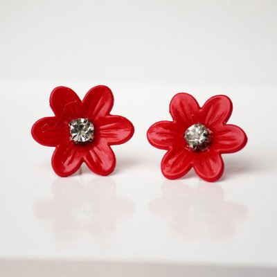 Brinco flor esmaltada vermelha