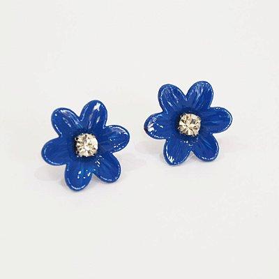 Brinco flor esmaltada azul