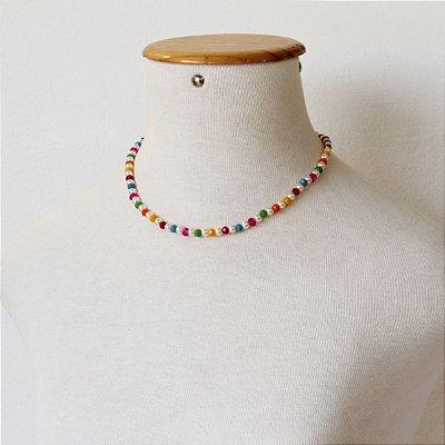 Colar rainbow com cristais e perola PI