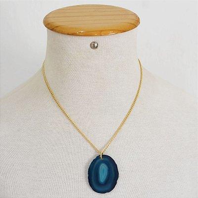 Colar pedra Ágata azul