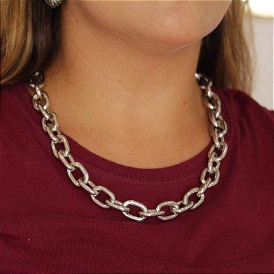 Colar elos cadeado prata