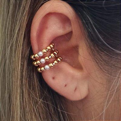 Piercing triplo bolinhas dourado