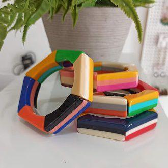 Bracelete resina colorido