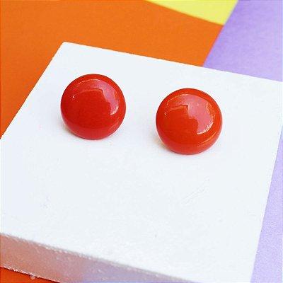 Brinco botão laranja