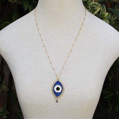 Colar longo olho grego dourado azul