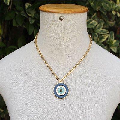 Colar olho grego medalhão