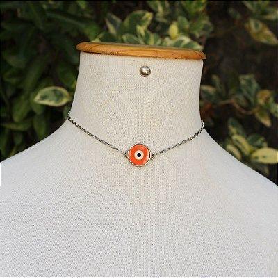 Choker olho grego laranja