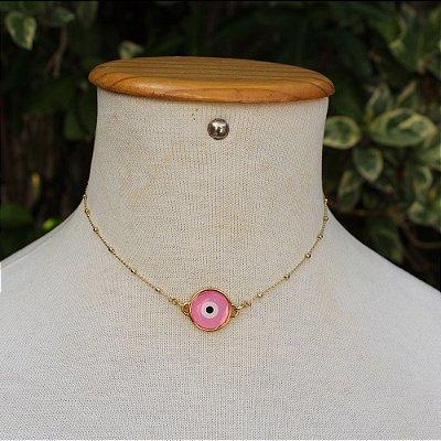 Choker olho grego rosa dourado